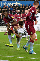 Football - 2018 / 2019 Championship - Swansea City vs Aston Villa<br /> … at the Liberty Stadium.<br /> <br /> Daniel James of Swansea City brought down by  Tammy Abraham of Aston Villa in the penalty area <br /> Credit: COLORSPORT/Winston Bynorth