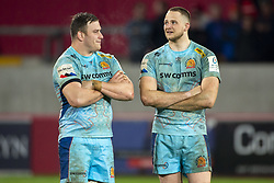January 19, 2019 - Limerick, Ireland - Mitch Lees and Jonny Hill of Exeter during the Heineken Champions Cup match between Munster Rugby and Exeter Chiefs at Thomond Park in Limerick, Ireland on January 19, 2019  (Credit Image: © Andrew Surma/NurPhoto via ZUMA Press)