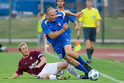 Jukka Vanninen vs Milan Osterc of Gorica at 1st football match of 2nd preliminary Round of UEFA Europe League between ND Gorica and FC Lahti, on July 16 2009, in Nova Gorica, Slovenia. (Photo by Vid Ponikvar / Sportida)