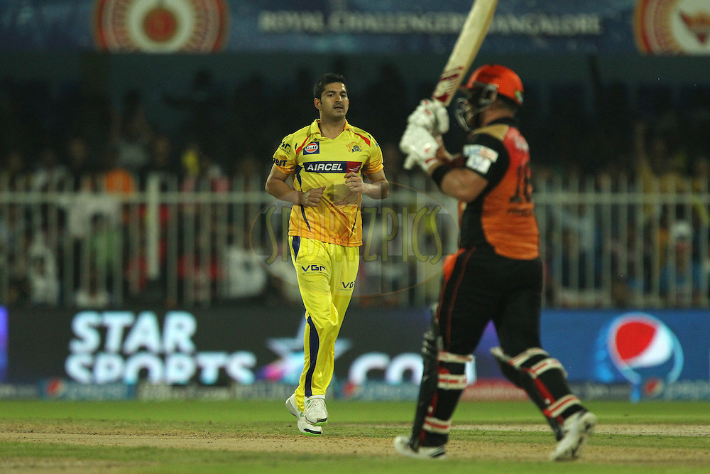 Mohit Sharma of The Chennai Superkings celebrates the wicket of Aaron Finch of the Sunrisers Hyderabad during match 17 of the Pepsi Indian Premier League 2014 between the Sunrisers Hyderabad and the Chennai Superkings held at the Sharjah Cricket Stadium, Sharjah, United Arab Emirates on the 27th April 2014<br /> <br /> Photo by Ron Gaunt / IPL / SPORTZPICS