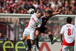 08.05.2010, easyCredit Stadion, Nuernberg, GER, 1. FBL, 1 FC Nuernberg vs 1 FC Koeln, im Bild: .Kopfballduell zwischen Christian Eigler (Nuernberg #8) und Cartsen Cullmann (Koeln #28).EXPA Pictures © 2010, PhotoCredit: EXPA/ nph/  news / SPORTIDA PHOTO AGENCY