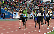 Jun 16, 2019; Rabat, Morocco; Nijel Amos (BOT) defeats Emmanuel Korir (KEN) to win the 800m, 1:45.57 to 1:45.60 during the Meeting International Mohammed VI d'Athletisme de Rabat at Prince Moulay Abdellah Stadium.