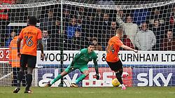 Jason Demetriou of Southend United scores past Jonathan Bond of Peterborough United from the penalty spot - Mandatory by-line: Joe Dent/JMP - 03/02/2018 - FOOTBALL - ABAX Stadium - Peterborough, England - Peterborough United v Southend United - Sky Bet League One