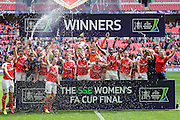 Arsenal lift the FA Cup during the SSE Women's FA Cup Final match between Chelsea Ladies and Arsenal Ladies at Wembley Stadium, London, England on 14 May 2016. Photo by Shane Healey.