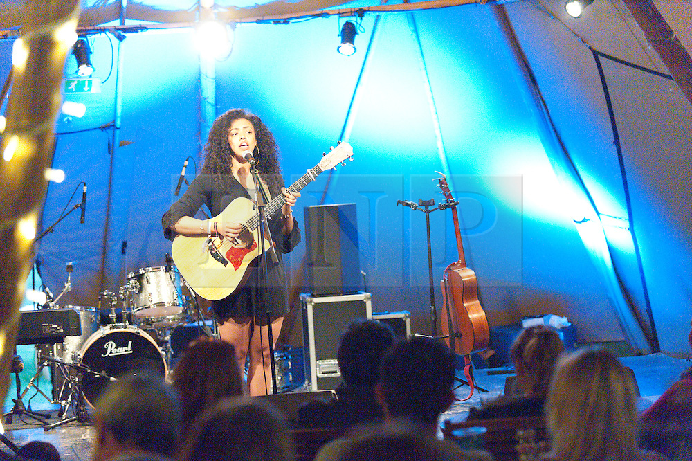 © Licensed to London News Pictures. 03/06/2016. Hay-on-Wye, Powys, Wales, UK. Fast rising new star, eighteen-year-old Mahalia, who started writing songs at the age of 12, stuns the audience at The Hat Riverside venue as the evening entertainment gets under way on the ninth day of 'HowTheLightGetsIn' Festival of Ideas - The philosophy and music festival at Hay-on-Wye, Wales, UK. HowTheLightGetsIn festival was founded by post-realist philosopher and director of the Institute of Art and Ideas, Hilary Lawson. Photo credit: Graham M. Lawrence/LNP