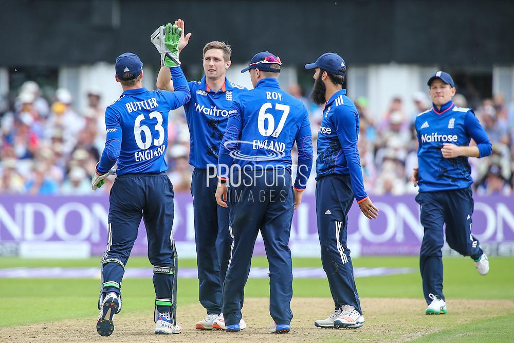 Englands Chris Woakes gets the wicket of Sri Lanka's Seekkuge Prasanna during the Royal London ODI match between England and Sri Lanka at Trent Bridge, West Bridgford, United Kingdon on 21 June 2016. Photo by Shane Healey.