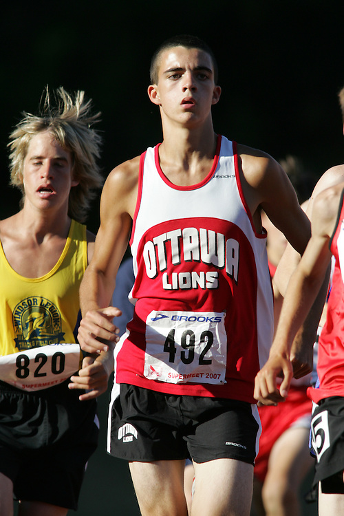 Andrew Fawcett competing in the 1500m at the 2007 OTFA Supermeet II. The Ontario Track and Field Association Bantam-Midget-Juvenile Championships were held in Toronto from August 3rd to 5th.