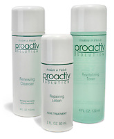 proactiv solution renewing cleanser, repairing lotion and revitalizing toner photographed on a white background.
