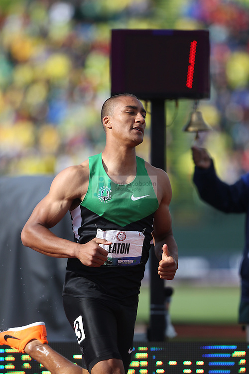 Ashton Eaton runs in the 1500m portion of the Decathlon during day 2 of the U.S. Olympic Trials for Track & Field at Hayward Field in Eugene, Oregon, USA 23 Jun 2012..(Jed Jacobsohn/for The New York Times)..