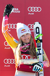 15.01.2012, Pista Olympia delle Tofane, Cortina, ITA, FIS Weltcup Ski Alpin, Damen, Super G, Podium, im Bild Lindsey Vonn (USA, Rang 1) // first place Lindsey Vonn of USA on podium during superG race of FIS Ski Alpine World Cup at 'Pista Olympia delle Tofane' course in Cortina, Italy on 2012/01/15. EXPA Pictures © 2012, PhotoCredit: EXPA/ Johann Groder