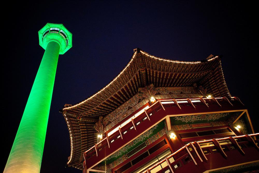 Yongdusan park with Busan Tower 118 m high / Busan,  South Korea, Republic of Korea, KOR, 14 February 2010.