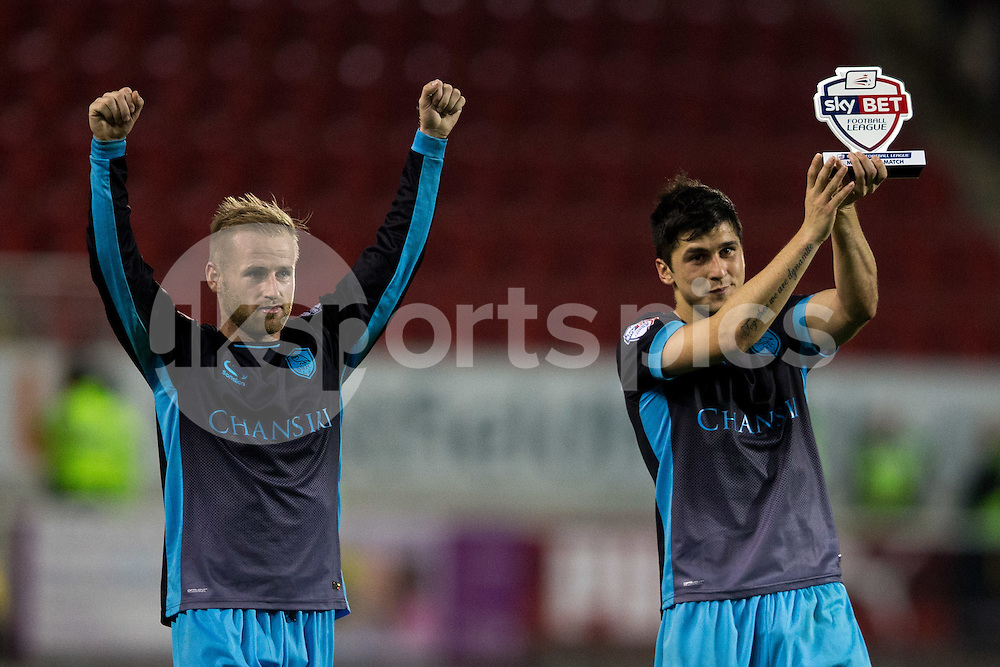 Barry Bannan of Sheffield Wednesday and Fernando Forestieri of Sheffield Wednesday at full time during the Sky Bet Championship match between Rotherham United and Sheffield Wednesday at the Aesseal New York Stadium, Rotherham, England on 23 October 2015. Photo by James Williamson.