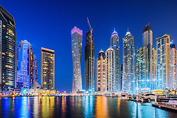 Night view of modern skyscrapers at Marina district of  Dubai United Arab Emirates
