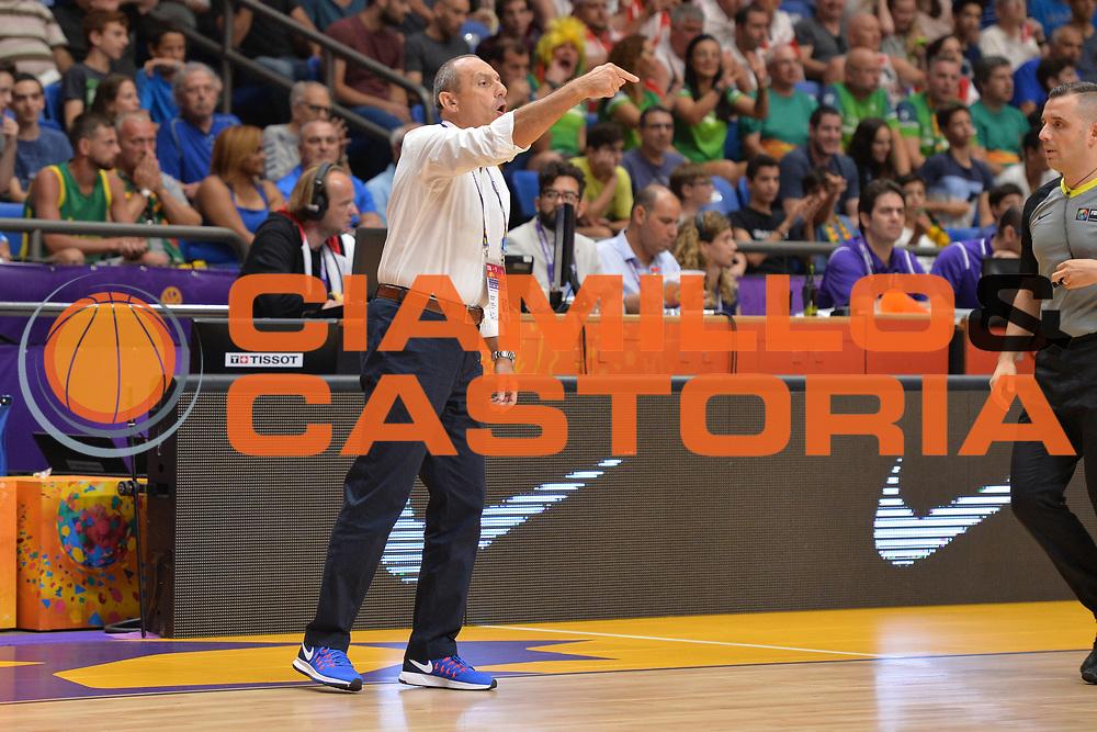 Ettore Messina<br /> Nazionale Italiana Maschile Senior<br /> Eurobasket 2017 - Group Phase<br /> Lituania - Italia<br /> FIP 2017<br /> Tel Aviv, 03/09/2017<br /> Foto Ciamillo - Castoria/ M.Longo