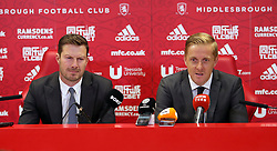 New Middlesbrough manager Garry Monk (right) is unveiled during a press conference.