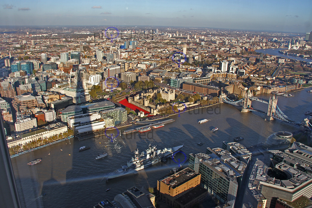 Tower of London World War One poppy display, Blood Swept Lands and Seas of Red, Viewed from the Shard, 09 November 2014, Photo by Brett Cove