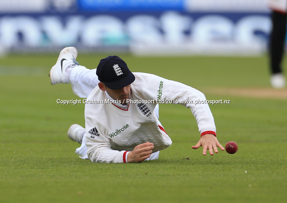 Alex Hales fields in the slips and stops a certain Rangana Herath four during the second Investec Test Match between England and Sri Lanka at Chester-le-Street, Durham. Photo: Graham Morris/ Photosport.nz