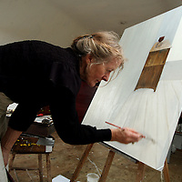 Artist Finola Graham at work in her studio in Fanore.<br /> <br /> Photograph by Yvonne Vaughan.
