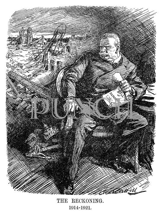 The Reckoning. 1914-1921. (a German looks angrily over his shoulder at the destruction of Europe and a fallen crown and sword as he holds the Bill of Reparations in the InterWar era)
