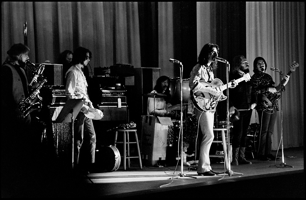 "Fall River, Massachusetts - 18 February 1968. Frank Zappa and The Mothers of Invention in performance at the Durfee Theater. From left to right:  John Leon ""Bunk"" Gardner, Ian Underwood, Jimmy Carl Black, Frank Zappa, Ray Collins, Roy Estrada. © Ed Lefkowicz 2020<br />