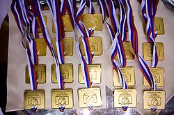 Gold Medals at finals match of Slovenian 1st Women league between KK Hit Kranjska Gora and ZKK Merkur Celje, on May 14, 2009, in Arena Vitranc, Kranjska Gora, Slovenia. Merkur Celje won the third time and became Slovenian National Champion. (Photo by Vid Ponikvar / Sportida)