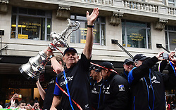 "CEO Grant Dalton with the Americas Cup as the Emirates Team New Zealand welcome home parade reacches the Viaduct Basin, Auckland, New Zealand, Thursday, July 06, 2017. Credit: SNPA / Marty Melville  ""NO ARCHIVING"""