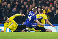 Andre Schurrle of Chelsea is sandwiched between two Watford players during the FA Cup match at Stamford Bridge, London<br /> Picture by David Horn/Focus Images Ltd +44 7545 970036<br /> 04/01/2015