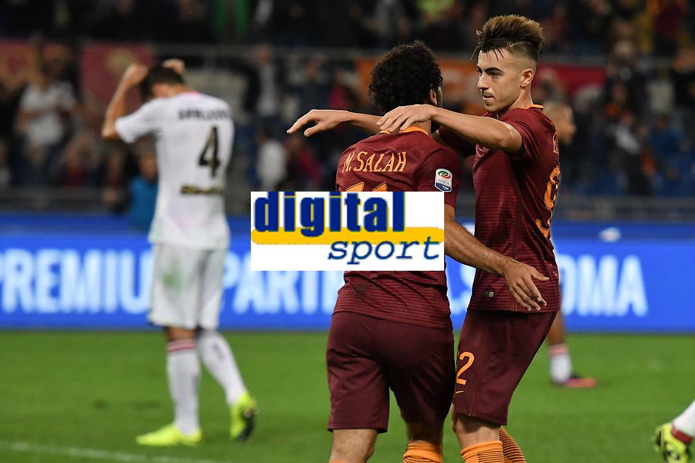 Gol Mohamed Salah Roma Goal celebration 1-0 with Stephan El Shaarawy <br /> Roma 23-10-2016  Stadio Olimpico <br /> Football Calcio Serie A 2016/2017 AS Roma - Palermo <br /> Foto Andrea Staccioli / Insidefoto