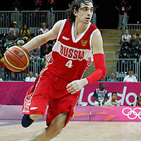 02 August 2012: Russia Alexey Shved dribbles during 75-74 Team Russia victory over Team Brazil, during the men's basketball preliminary, at the Basketball Arena, in London, Great Britain.