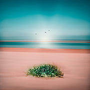 Beach scene abstraction in teal and rose<br />