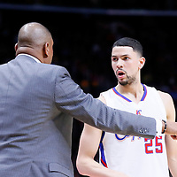 11 February 2015: Los Angeles Clippers head coach Doc Rivers talks to Los Angeles Clippers guard Austin Rivers (25) during the Los Angeles Clippers 110-95 victory over the Houston Rockets, at the Staples Center, Los Angeles, California, USA.