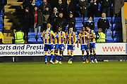 Sullay Kaikai of Shrewsbury Town (on loan from Crystal Palace) celebrates after he makes it 1-1 during the Sky Bet League 1 match between Shrewsbury Town and Coventry City at Greenhous Meadow, Shrewsbury, England on 8 March 2016. Photo by Mike Sheridan.