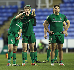 London Irish players watch the big screen to see if they have scored a last minute try - Photo mandatory by-line: Robbie Stephenson/JMP - Mobile: 07966 386802 - 05/04/2015 - SPORT - Rugby - Reading - Madejski Stadium - London Irish v Edinburgh Rugby - European Rugby Challenge Cup