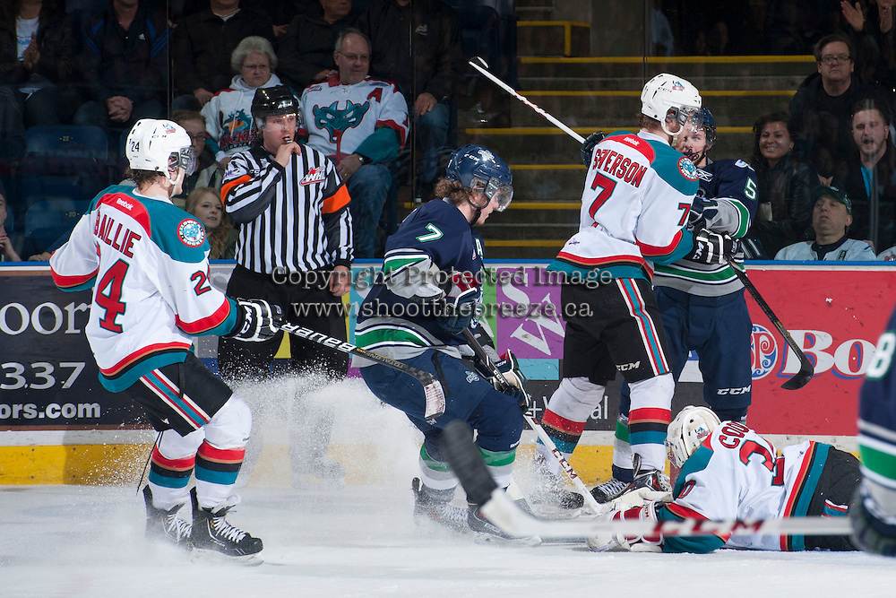 KELOWNA, CANADA - APRIL 5: Nathan Wieler, referee, blows the whistle between the Kelowna Rockets and the Seattle Thunderbirds on April 5, 2014 during Game 2 of the second round of WHL Playoffs at Prospera Place in Kelowna, British Columbia, Canada.   (Photo by Marissa Baecker/Getty Images)  *** Local Caption *** Nathan Wieler; referee;