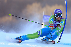 Second placed after first run Tina Maze of Slovenia skiing in first run of Maribor women giant slalom race of Audi FIS Ski World Cup 2008-09, in Maribor, Slovenia, on January 10, 2009. (Photo by Vid Ponikvar / Sportida)