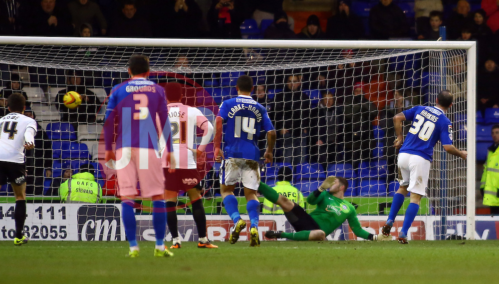 Oldham Athletic's Gary Harkins scores the equalising goal to make it 4-4 - Photo mandatory by-line: Joe Dent/JMP - Tel: Mobile: 07966 386802 25/01/2014 - SPORT - FOOTBALL - Boundary Park - Oldham - Oldham Athletic v Peterborough United - Sky Bet League One