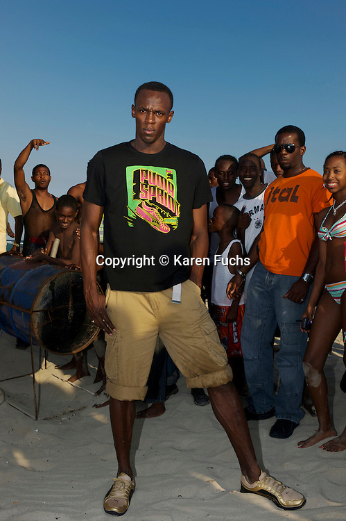 Usain Bolt on Hellshire Beach, Kingston /Jamaica April'09