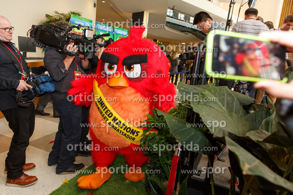 &quot;Red&quot; from the Angry Birds movie arrives at the &quot;Angry Birds for a Happy Planet&quot; campaign, at the United Nations headquarters in New York, March 18, 2016. UN Secretary-General Ban Ki-moon appointed Red from the Angry Birds as Honorary Ambassador for Green on the International Day of Happiness and encouraged young people to take action on climate change and make the Angry Birds happy. EXPA Pictures &copy; 2016, PhotoCredit: EXPA/ Photoshot/ Li Muzi<br /> <br /> *****ATTENTION - for AUT, SLO, CRO, SRB, BIH, MAZ, SUI only*****