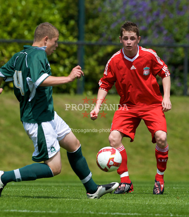 KIRKBY, ENGLAND - Saturday, July 26, 2008: Liverpool's Adam Pepper in action against Plymouth Argyle during a pre-season friendly match at the Academy. (Pic by David Rawcliffe/Propaganda)
