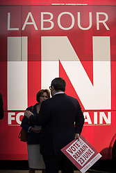© Licensed to London News Pictures . 13/05/2016 . Liverpool , UK . Labour Party Deputy Leader TOM WATSON (holding Vote Remain placard) talking to Liverpool Riverside MP LOUISE ELLMAN , with the Labour In for Britain campaign bus and campaigners in Williamson Square in Liverpool . Photo credit : Joel Goodman/LNP