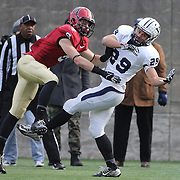 Grant Wallace, Yale, fails to make the catch while challenged by Sean Ahern, Harvard, during the Harvard Vs Yale, College Football, Ivy League deciding game, Harvard Stadium, Boston, Massachusetts, USA. 22nd November 2014. Photo Tim Clayton