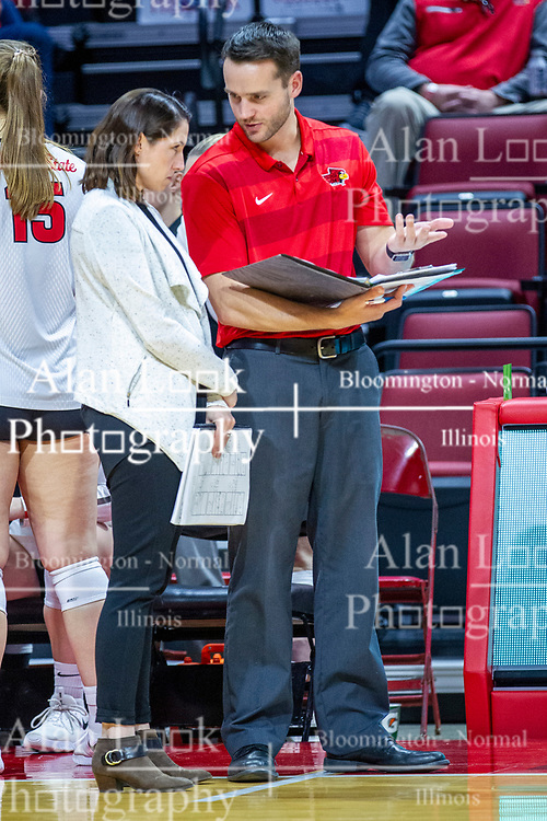 BLOOMINGTON, IL - November 22: Leah Johnson and Mike Becker during a college Women's volleyball match between the ISU Redbirds and the Sycamores of Indiana State on November 22 2019 at Illinois State University in Normal, IL. (Photo by Alan Look)