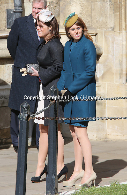 Princess's Eugenie and Beatrice arriving at  the Easter Day service at St.George's Chapel, Windsor Castle, Sunday, 31st March 2013.  Photo by: Stephen Lock / i-Images