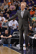 Oct 25, 2017; Phoenix, AZ, USA; Phoenix Suns head coach Jay Triano reacts during the game against the Utah Jazz at Talking Stick Resort Arena. Mandatory Credit: Jennifer Stewart-USA TODAY Sports