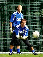 06-08-2008 Voetbal:Maikel Aerts:Bad-Schandau:Duitsland<br /> Willem II is in Oost Duitsland in Bad-Schandau voor een trainingskamp.<br /> De doelmannen van Willem II, Oscar Moens en Maikel Aerts. Voorlopig is Aerts de nummer een<br /> <br /> foto: Geert van Erven