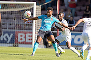 Fleetwood Town striker Aaron Holloway (9) battles for the ball with Northampton Town defender Gabriel Zakuani (6) during the EFL Sky Bet League 1 match between Northampton Town and Fleetwood Town at Sixfields Stadium, Northampton, England on 6 August 2016. Photo by Dennis Goodwin.