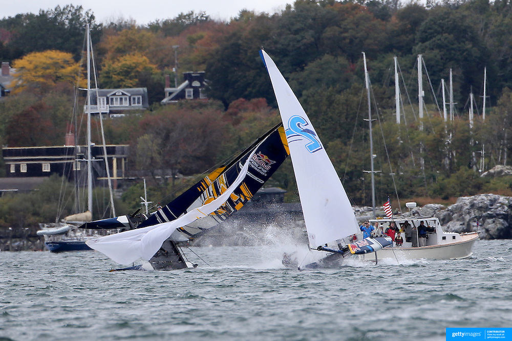 NEWPORT, RHODE ISLAND- OCTOBER 22:  The Germany team, (left), of Jasper Steffens and Tom Lennart Brauckmmann capsize as the Belgium team of Alec Bague and Wirtz Morgan take evasive action during the Red Bull Foiling Generation World Final 2016 on October 22, 2016 in Narragansett Bay, Newport, Rhode Island. (Photo by Tim Clayton/Corbis via Getty Images)