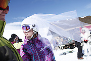 SHOT 2/14/11 12:42:22 PM - Loveland Ski Area in Colorado hosted the 20th Annual Marry Me & Ski Free Mountaintop Matrimony on Valentine's Day Monday, February 14th. The mass wedding ceremony was held at noon at 12,050 feet outside of the Ptarmigan Roost Cabin at Loveland. More than 75 couples were pre-registered to get married or renew their vows high on The Continental Divide in this yearly Loveland tradition.  Following the ceremony couples were invited to a casual reception complete with a champagne toast, wedding cake and music.  (Photo by Marc Piscotty / © 2010)