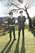 28/03/2016 Sgt Ian Seoighe from An Cheathru Rua and Ltn Shay O Giollagain from Dublin at Pearse's Cottage, Teach an Phiarsaigh, in Rosmuc in Connemara during a special broadcast of RT&Eacute; Raidi&oacute; na Gaeltachta programme Adhmhaidin on Easter Monday 28 March 2016.  <br /> <br /> Patrick Pearse used the cottage as a summer house, and also as summer school for his pupils from St Enda&rsquo;s school in Dublin.  He was inspired by the people and the culture of the area, and it is said that he composed the graveside oration he gave at O&rsquo;Donovan Rossa&rsquo;s funeral in 1915 there.<br /> <br /> The broadcast was to commemorate the centenary of the Easter Rising, and also marked 30 years on air for the programme.  <br /> Photo:Andrew Downes, xposure.