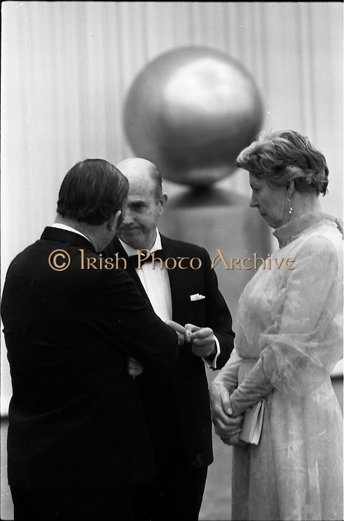 24/10/1971<br /> 10/24/1971<br /> 24 October 1971<br /> Opening of ROSC 1971 art exhibition at the RDS, Ballsbridge, Dublin. Picture shows (l-r): Mr C.J. Haughey TD; Cearbaill O'Dalaigh, Chief Justice and Mrs O'Dalaigh, at the opening of ROSC '71.